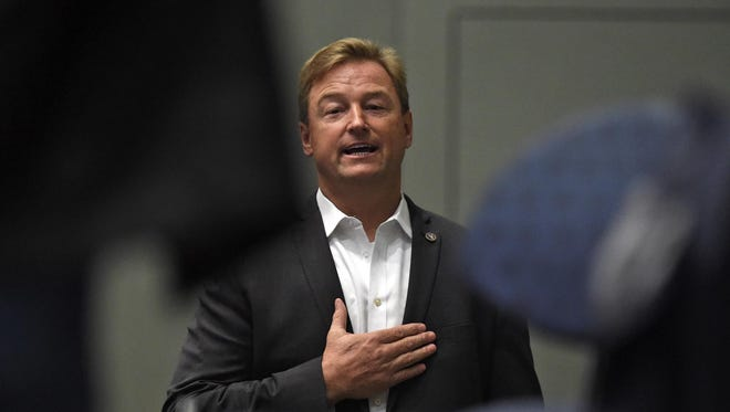Senator Dean Heller at a town hall meeting at the Reno Sparks Convention Center in April 2017. Heller is testing out a potential run for Nevada governor next year.