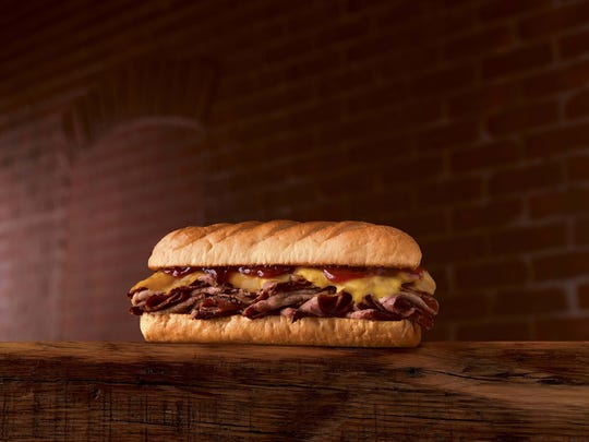 The Smokehouse Beef & Cheddar sandwich from Firehouse