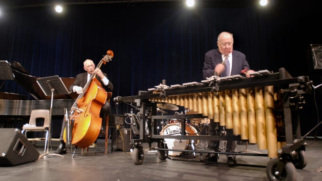 """Bassist Charles Stephens and percussionist Johnny Bond perform """"Stompin' at the Savoie"""" with pianist Doug Krieger during St. Clair County Community College's Noon Hour Concerts."""