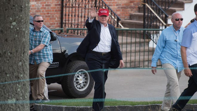 President Donald Trump attends the 72nd U.S. Women's Open at Trump National Golf Club in Bedminster.  The 72nd U.S. Women's Open and third USGA championship was held at Trump National Golf Club in Bedminster.  08/15/2017
