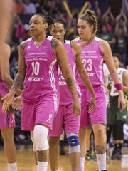 The Phoenix Mercury react after losing to the Seattle