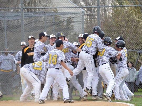 South Brunswick celebrates a walk-off win last season