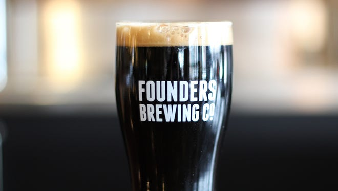 A glass of beer from Founders Brewing Co. Canal Street Brewing Co., LLC (dba Founders Brewing Co.) began in Grand Rapids in 1997 as a small tap room and small beer production facility. Picture received from Founders Brewing Co. in Dec. 2014.