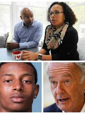 """Danroy Henry Sr., top left, says he and his wife, Angella Henry, top right, didn't receive any help from Sen. Ed Markey, bottom right, 10 years ago when they asked him to get involved in the fight for justice in the death of their son, Danroy """"DJ"""" Henry Jr., bottom left."""