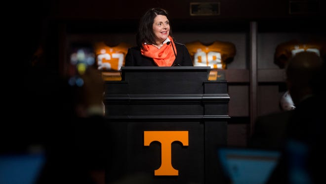 Chancellor Davenport speaks during the introduction ceremony of Jeremy Pruitt as Tennessee's next head football coach at the Neyland Stadium Peyton Manning Locker Room in Knoxville, Tenn. on Thursday, December 7, 2017.