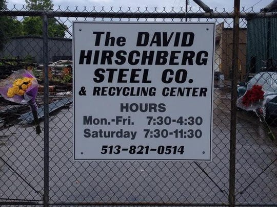 A memorial was set up Monday morning at the entrance to David Hirschberg Steel Co. in Lockland, owned by James Rolman.