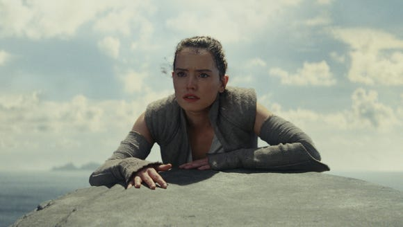 Rey (Daisy Ridley) on Luke Skywalker's uncharted island.