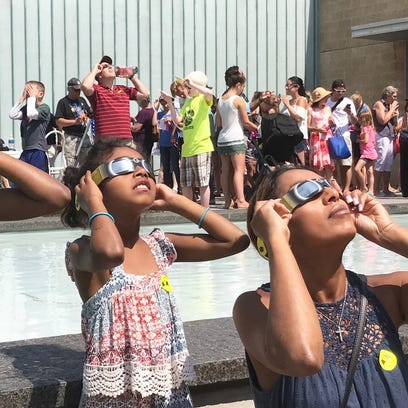 Viewing the eclipse from the Cranbrook Science Center