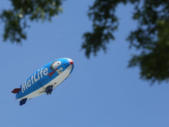 The MetLife blimp circled Westchester, providing a bird's eye view of the course and prompting likely every gallery member to crane his or her neck.