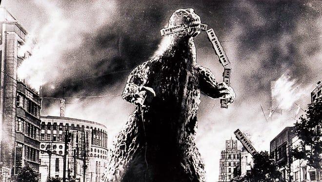 "A scene from the motion picture ""Gojira"" (Godzilla)."
