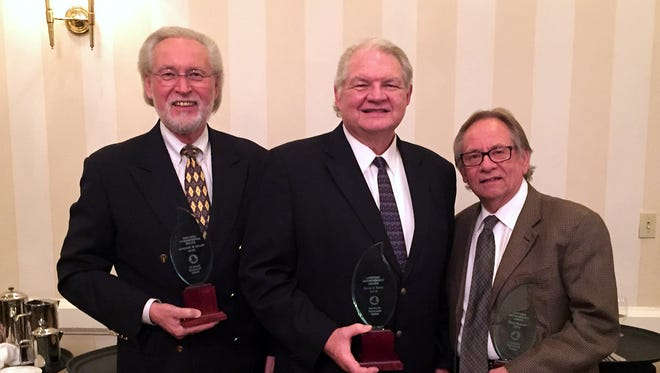 Dr. Byron D. Klaus (center), author and retired president of AGTS, was honored with a Lifetime Achievement Award at the conference, along with Dr. Murray Dempster and Dr. Doug Petersen.