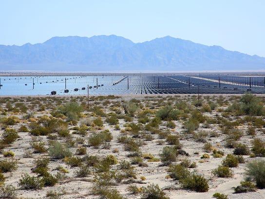 Open land surrounds the 550-megawatt Desert Sunlight solar farm near Desert Center, California, about an hour's drive east of Palm Springs. When it opened in 2015, Desert Sunlight was the world's largest solar farm.