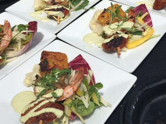 First place in the savory category of the Yummie Top Chef Awards presented by the Casa Pacifica Angels Food, Wine & Brew Festival went to Alejandro Castillo of Twenty 88 in Camarillo for his pairing of marinated shrimp, andouille sausage and yucca atop jicama-watercress slaw with roasted pasilla-cilantro cream. Castillo also won first prize in the category in 2016.