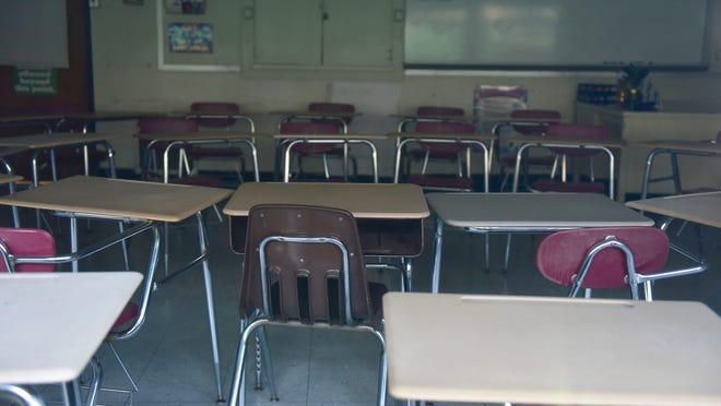 An empty classroom at Hackensack High School in Hackensack, N.J. on Thursday April 16, 2020.