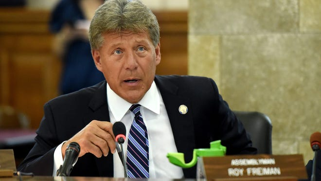 Assemblyman John McKeon questions NJ Transit Executive Director Kevin Corbett and Department of Transportation Commissioner Diane Gutierrez-Scaccetti during a hearing concerning recent problems with NJ Transit rail passenger service. The hearing was held at in the State House Annex in Trenton on Thursday, August 16, 2018.