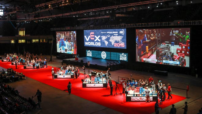 """An overview of the finals area that will be used Saturday for the Vex Robotics World Championship High School competitions. """"Each one of the teams bring a piece of their culture here to the world championship for all to enjoy,"""" Vex Robotics marketing manager Grant Cox said. April 17, 2015"""