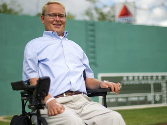 Travis Roy on the field at little Fenway Park for his annual whiffle ball tournament