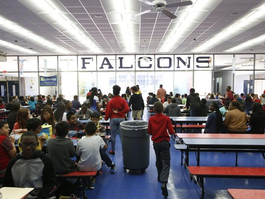 Fairview Middle School students eat lunch in 2016. The school is scheduled to get a new gymnasium this year.