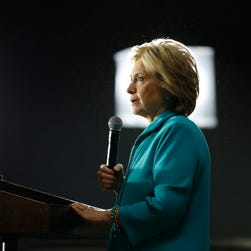Hillary Clinton speaks at an International Brotherhood of Electrical Workers training center on May 24, 2016, in Commerce, Calif.
