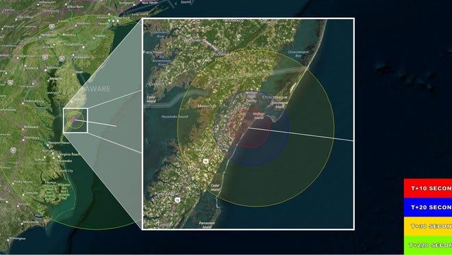 A map of where the May 31 rocket launch at NASA's Wallops Flight Facility should be visible and when.