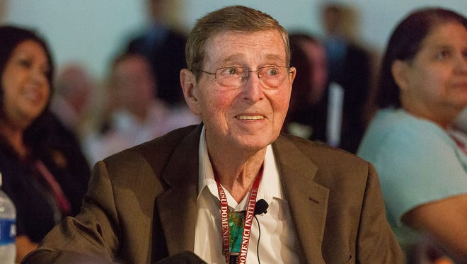 Former senator Pete Domenici attends his signature Domenici Public Policy Conference on Sept. 14, 2016, in Las Cruces, N.M. Domenici died Wednesday, Sept. 13, 2017. He was 85.