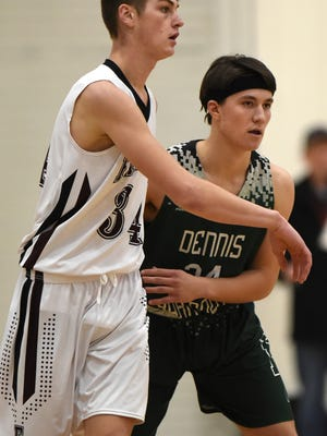 Cam Taubert, right, of Dennis-Yarmouth guards Camden Dunbury of Falmouth in a 2019 basketball game.