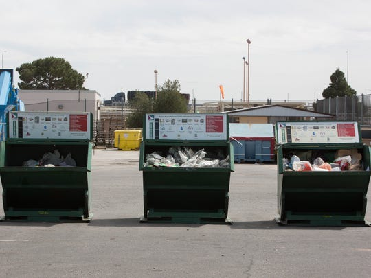 Recycling containers at the Las Cruces Recycling Center on Amador, filled with plastics, papers and other recyclable items. Monday March 12, 2018.