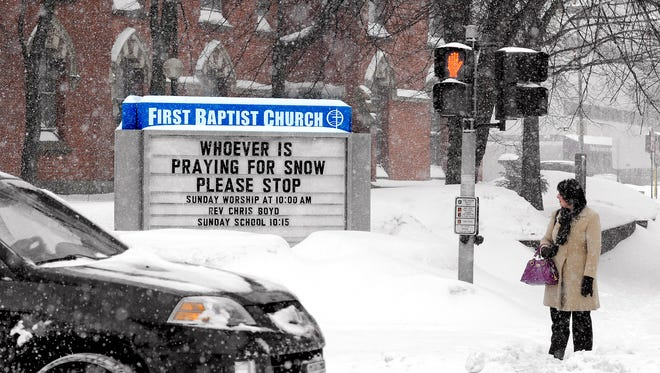 City of Poughkeepsie during a snow storm in 2011.