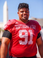 Southern Utah defensive lineman Anu Poleo (91) poses