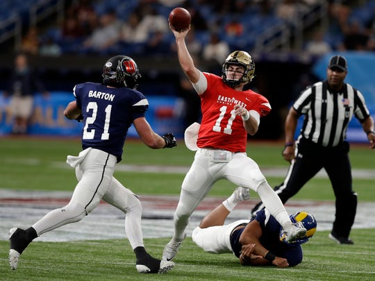 East quarterback David Blough (11), of Purdue, throws a pass as he is pressured by West linebacker Cody Barton (21), of Utah, during the first half of the East West Shrine football game Saturday, Jan. 19, 2019, in St. Petersburg, Fla. (AP Photo/Chris O'Meara)