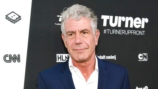 """FILE - In this May 18, 2016 file photo, Anthony Bourdain attends the Turner Network 2016 Upfronts in New York. Bourdain has presented a documentary, """"Wasted! The Story of Food Waste,"""" at the Tribeca Film Festival in which he argues passionately against the issue of food waste, from supermarkets to home cooking."""