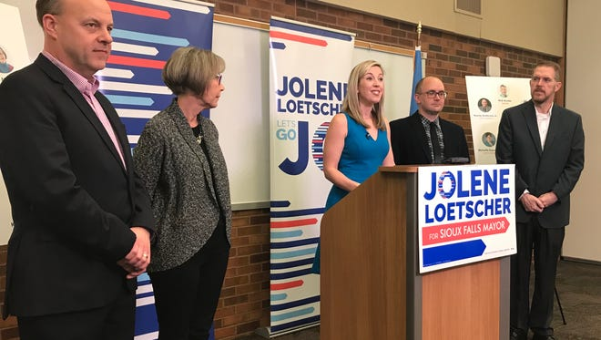 Sioux Falls mayoral candidate Jolene Loetscher announced endorsements from several current and former City Councilors during a news conference Wednesday, including Vernon Brown, Casey Murschel, Andy Howes and Pat Starr.