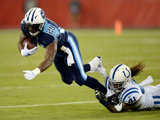 Tennessee Titans running back DeMarco Murray (29) is brought down by Indianapolis Colts strong safety Matthias Farley (41) in the first half of an NFL football game Monday, Oct. 16, 2017, in Nashville, Tenn. (AP Photo/Mark Zaleski)
