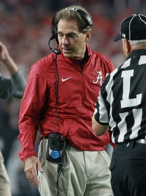 Ken Ruinard/Independent Mail Alabama head coach Nick Saban during the second quarter at the national championship game in Glendale, Ariz., in 2016.