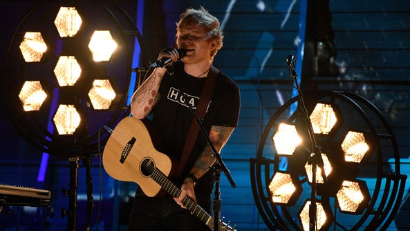 Ed Sheeran performs during the 59th Annual Grammy Awards