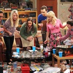 """This undated photo released by CBS shows, from left, Johnny Galecki, Kaley Cuoco, Mayim Bialik, Jim Parsons, Melissa Rauch and Simon Helberg, in the episode """"The Love Spell Potential,"""" on the CBS Television Network's """"The Big Bang Theory,"""" Thursday, May 9 (8:00 - 8:31 PM, ET/PT). (AP Photo/CBS, Monty Brinton)"""