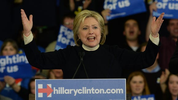 Hillary Clinton speaks during her primary night gathering