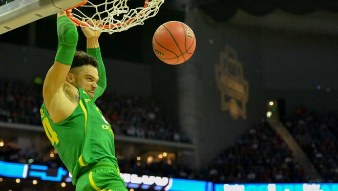 Mar 25, 2017; Kansas City, MO, USA; Oregon Ducks forward Dillon Brooks (24) dunks on the Kansas Jayhawks during the first half in the finals of the Midwest Regional of the 2017 NCAA Tournament at Sprint Center. Mandatory Credit: Denny Medley-USA TODAY Sports