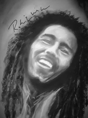 A portrait of Bob Marley painted by Robin Shoup Wilson.