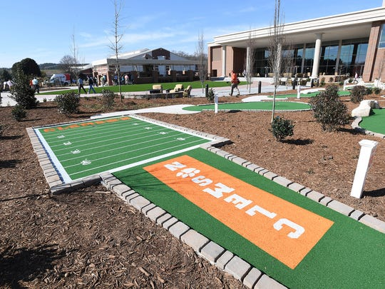 A putt putt course in the outdoor village in Clemson's new Allen N. Reeves Football Complex on Tuesday, January 31, 2017.