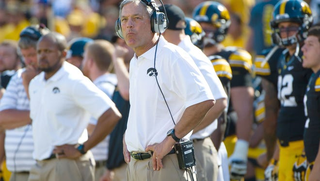 Iowa coach Kirk Ferentz watches the action against Ball State on Sept. 6 at Kinnick Stadium.