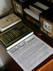 Literature is seen inside the prayer room at the Muslim