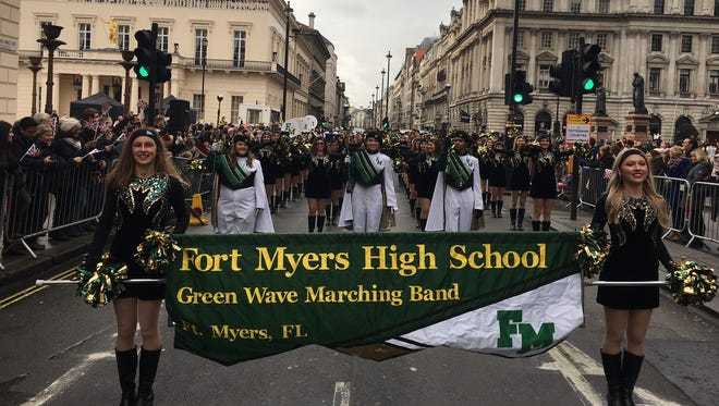 The Fort Myers High School marching band was the first band to march in the London New Year's Day Parade Sunday. It is the second time in a decade the school has had students perform in the event.