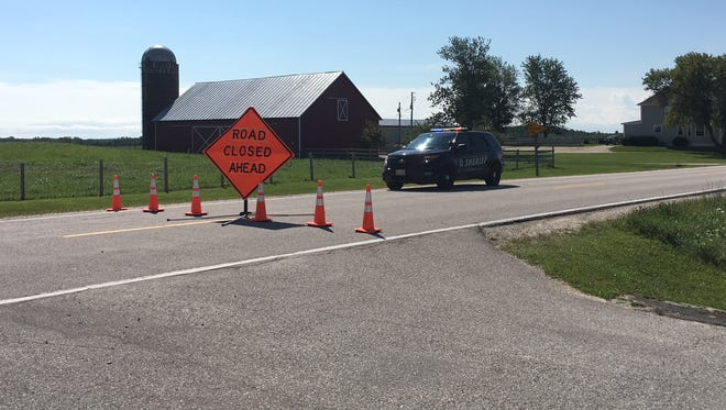 Traffic is detoured in the Kewaunee County town of Franklin on Tuesday, Aug. 22, 2017, after a fatal, officer-involved shooting on Monday.