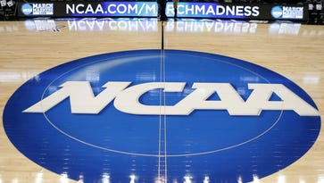 The NCAA logo at center court.