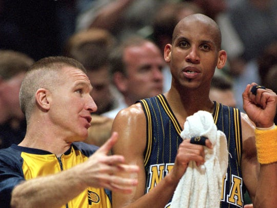 Chris Mullin (left) was primarily a bench player for the Pacers during the 2000 season.