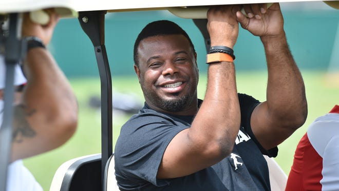 Former Major League Baseball player Ken Griffey Jr. interacts with young baseball players after giving a talk to the attendees, ages 15-17, during week two of the Elite Development Invitational baseball camp at Historic Dodgertown on Friday, July 21, in Vero Beach.