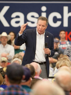 Gov. John Kasich holds a rally in St. George Saturday, March 19, 2016.