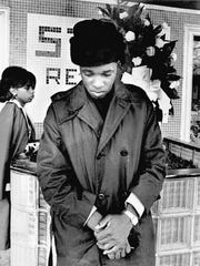 Ben Cauley, in mourning, outside Stax in 1967.