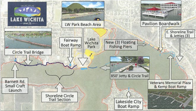 A map created by the Lake Wichita Revitalization Committee shows possible projects that could be included in a future city bond.